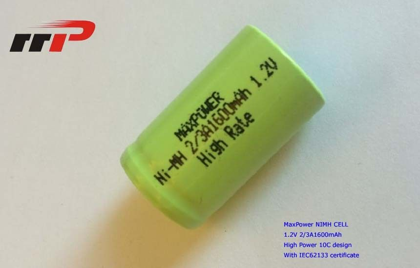 2/3A1600mAh 1.2V NIMH Rechargeable Batteries IEC62133 High Rate 10C