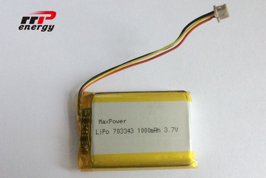 Polymer High Power Lipo Battery 703343 1000mAh 3.7V High Temperature BIS UN38.3